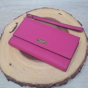 Kate Spade New York Trifold Hot Pink Wristlet